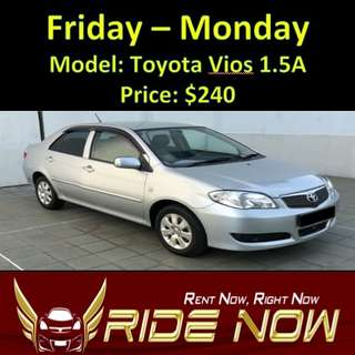 Toyota Vios 1.5A Weekend Rental