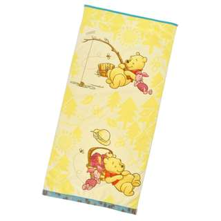 日本 Disney Store 直送 Relax 系列 Winnie the Pooh & Piglet 小熊維尼豬仔大毛巾 / 沙灘毛巾