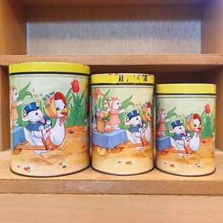 VINTIQUE 香港製 懷舊 復活節 童趣感 兔子 鴨子  復活蛋 一套三個 全新庫存 老鐵罐 / 老罐