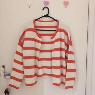 Korean Style Orange Stripe Cardigan