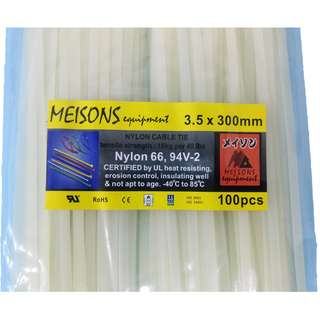 Meisons cable tie 3.5mm x 300mm white (100pcs per pack)