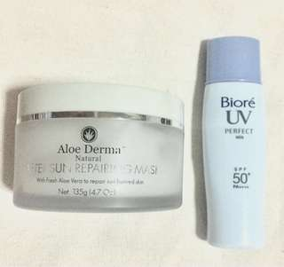 Aloe Derma - After Sun Repairing Mask +  Bioré UV Perfect Milk Lotion