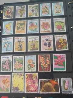 植物(花)郵票(不同國家已蓋銷郵票)