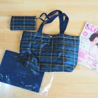日本雜誌格仔手挽袋連散紙包wallet