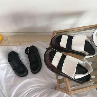 涼鞋2018夏季新款韓版松糕底厚底涼鞋女魔術貼拼色羅馬平底凉鞋女