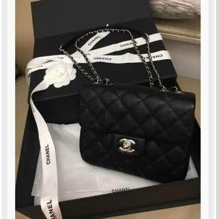 2018全新Chanel coco 雙cc  黑色荔枝紋銀鏈小迷你號 A57407Urban