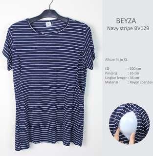Baju Menyusui Beyza Navy Stripe JUST MOM