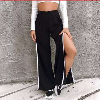 Side slit track pants