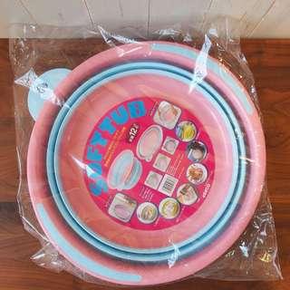 日本粉紅色膠soft tub盤伸縮摺收納
