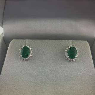 2卡74份綠寶 60份鑽石 18K白金耳環 18K Withe gold 2.47ct Emerald 0.60ct Diamond Earrings 可議價
