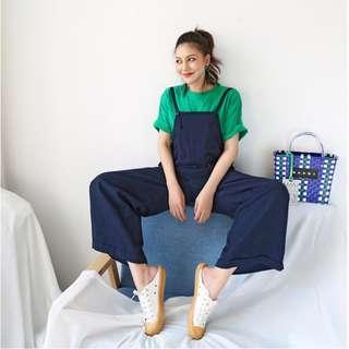 2018夏季 時尚俏皮學生工裝 顯瘦寬鬆 深藍闊腿長款拖地連體吊帶褲