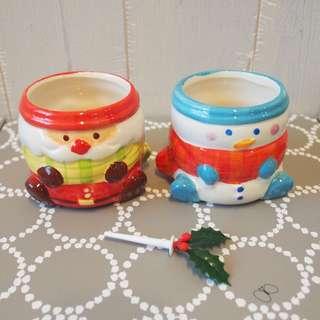 聖誕雪人碗甜品擺設一對