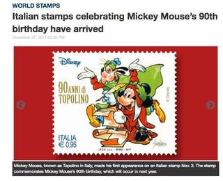 😍 Brand New Disney 90 anniversary topolino first day cover