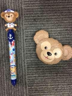 迪士尼 達菲熊 隨身鏡 原子筆