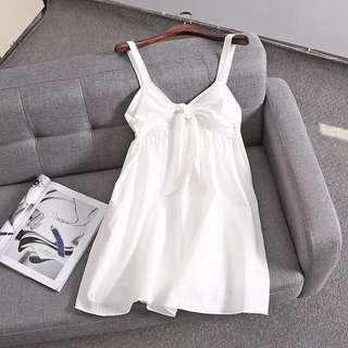 🚚 OshareGirl 06 西班牙單女士綁帶蝴蝶結裝飾連身裙洋裝
