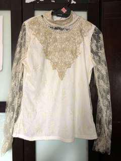 White Lace Highneck Top