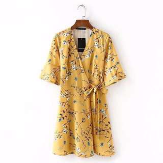 Yellow floral mini wrap around Dress