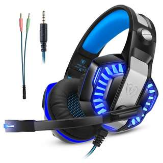 805. Gaming Headset for Xbox one Ps4, Gamer Headphone with Mic, Over ear Bass Stereo, Noise Reduction Microphone, LED Lights and Volume Control for PC, Nintendo Switch/3DS, Laptop, Mac, Pad, Smartphone