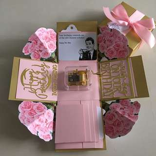 Flowers explosion box with musical box ,  4 waterfall in pink and gold