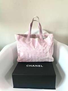💯真品 狀況良好Auth Chanel new travel line handbag 休閑輕便夏日可愛櫻花粉色側揹袋手挽袋