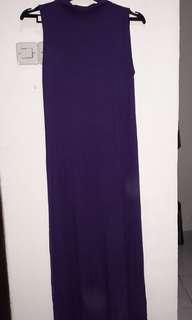 Gamis ungu tanpa lengan