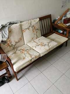 1960's teak wood sofa