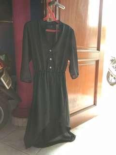 BLACK DRESS SIFON MODEL PANJANG PENDEK