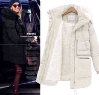 (S~3XL) Winter thick down jacket women's long section off code winter loose lambskin coat