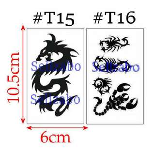 #T15 #T16 Fake Temporary Body Tattoo Stickers Washable Wash Off Print Sellzabo Black Colour Patterns Designs Tatoo Tatto Tattoo Accessories Dragons Scorpions