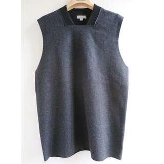 【不議價】COS black & charcoal grey wool boxy cut vest top 背心上衣