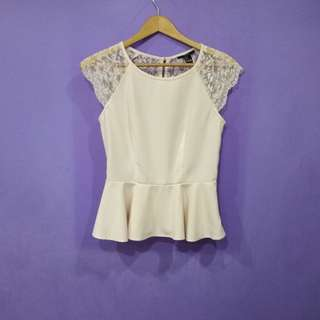 Forever 21 Lace back peplum top