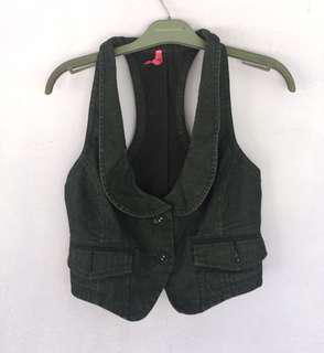 Dotti Denim Black Vest/ Rompi jeans denim