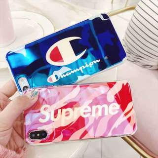 champion / supreme iphone 6/6p/7/7p/8/8p/X phone case
