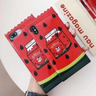 手機殼IPhone6/7/8/plus/X : 夏日西瓜牛奶盒糖果造型全包黑邊軟殼