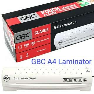 GBC A4 Laminating machine CLA402 A4 laminator for hot/cold lamination accepts 100/125 microns thick A4 pouches.