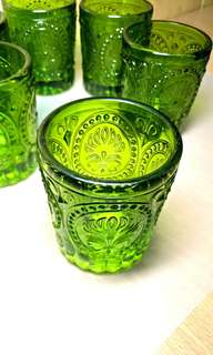 Victorian Embossed Design Glass Cups. (6 cps.)