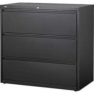 """Commercial 42"""" Wide 3-Drawer Lateral File Cabinet, Black"""