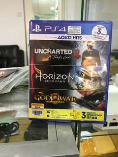 Ps4 uncharted 4/horizon/god of war iii remastered 3in1