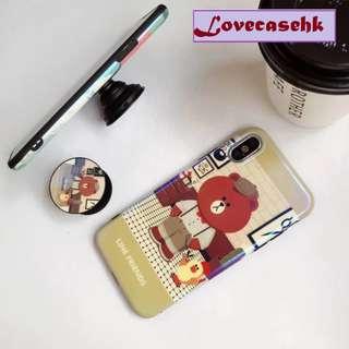 手機殼IPhone6/7/8/plus/X : Linefriends小熊配氣囊支架藍光全包黑邊軟殼