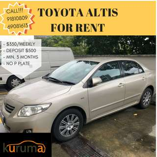 TOYOTA ALTIS FOR RENT (GRAB DRIVER WELCOME)