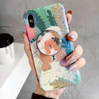 手機殼IPhone6/7/8/plus/X : Linefriends小熊女配氣囊支架藍光全包黑邊軟殼