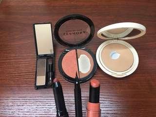 eyeshadow, blush, foundation, lipstick, eyeliner