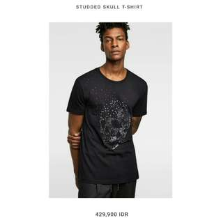 Zara Man Skull Black Navy Blue Tee