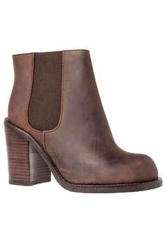 Jeffrey Campbell Cash Boots 8 Chocolate Brown Genuine Leather Chelsea Ankle Booties Block Heel with Original Unicorn Box
