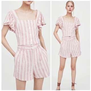 🚚 OshareGirl 06 歐美女士甜美氣質粉條紋印花套裝短版上衣高腰短褲