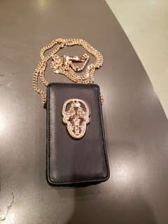 Thomas Wylde - Women's black who's calling metal skull leather phone case