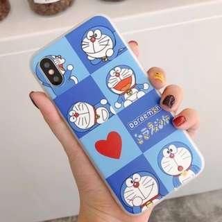 手機殼IPhone6/7/8/plus/X : 多啦a夢(叮噹)八宮格全包透明邊軟殼