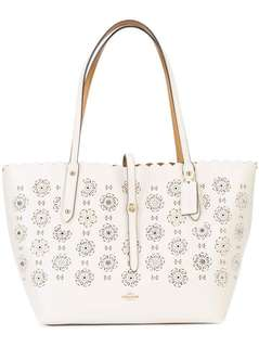 C0ACH TOTE WITH CUT OUT TEA ROSE