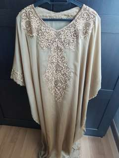 Kaftan chiffon gold color