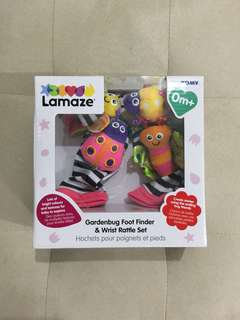 Brand new Lamaze Gardenbug foot finder and wrist rattle set